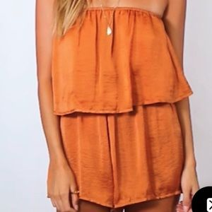 Spiced Honey Strapless Romper